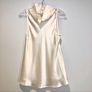 Bebe ivory cream 100% silk cowl neck top
